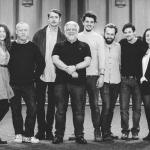 The Grassroots Shakespeare London team with Simon Russell Beale. L-R: Emily Jane Kerr, Jim Conway, Kit Loyd, Simon Russell Beale, Oliver Towse, Chris Thomson, Chris Thomson, Boris Mitkov and Siobhán Daly.